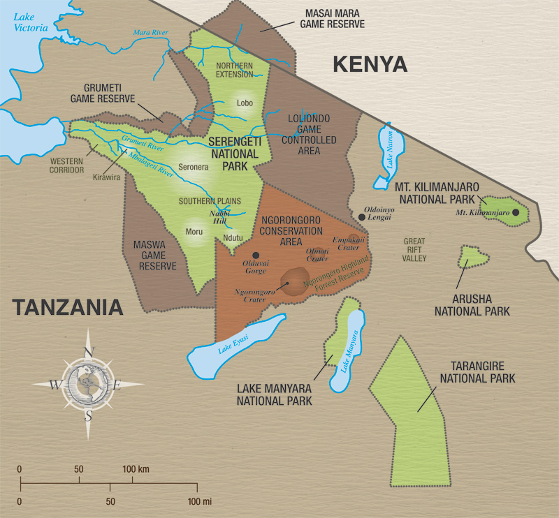 Tanzania safari map Proud African Safaris